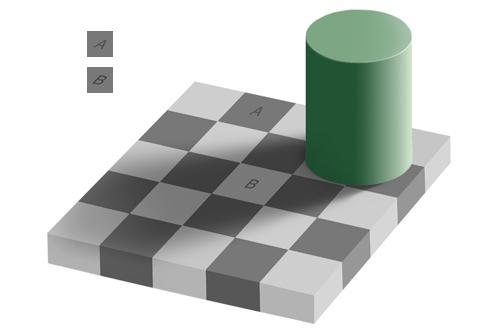 รูปภาพที่ 3: Checker-shadow illusion โดย Edward H. Adelson (1995) (ที่มาของภาพ: http://en.wikipedia.org)
