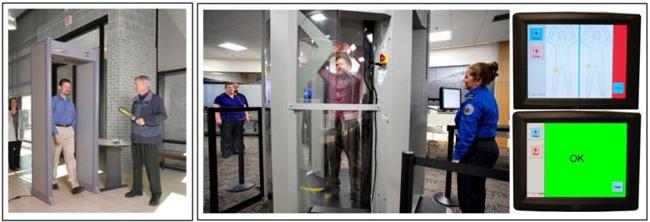 (กรอบซ้าย) เครื่องตรวจจับโลหะ และ (กรอบขวา) เครื่องสแกนทั้งร่างกาย (ที่มาของภาพจาก http://www.smi-elec.com/pd-6500i-enhanced-pinpoint-walk-through-metal-detector-gray และ http://juneauempire.com/local/2012-01-13/new-body-scanner-gets-trial-run-airport )