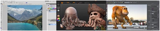 รูปที่ 1 ตัวอย่างของเครื่องมือที่ใช้ในงานคอมพิวเตอร์กราฟฟิกส์ ซ้ายสุด: Adobe Photoshop สำหรับงานแต่งภาพและวาดภาพ, กลาง: Zbrush สำหรับงานปั้น 3 มิติ และ ขวาสุด: Maya สำหรับงานออกแบบและแสดงผล 3 มิติ (ที่มา: Adobe และ Pixologic)