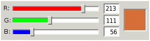 การผสมความเข้มของแสงของแม่สี R, G, B เข้าด้วยกัน โดยใช้เครื่องมือผสมสีด้วย Slider ที่มักมีอยู่บนเครื่องมือสร้างงานศิลปะทั่วไป (ที่มา: en.wikipedia.org/wiki/RGB_color_model)