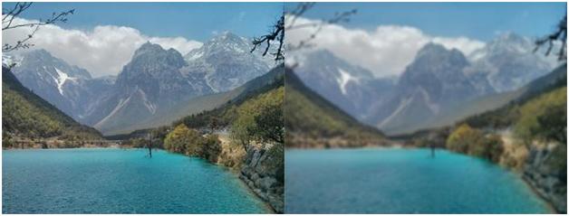การทำภาพให้มัว โดยการหาค่าเฉลี่ยจาก Pixel ใกล้เคียง ซ้าย: ภาพต้นฉบับ ขวา: รูปที่ผ่านการทำให้มัว โดยในตัวอย่างนี้ใช้ Pixel ข้างเคียงจำนวน 20 Pixels