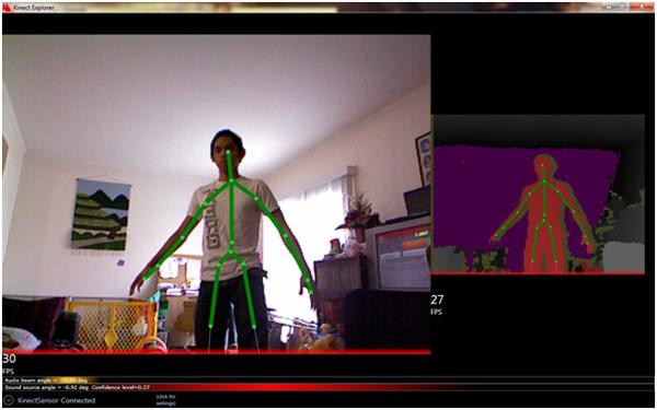 โครงสร้างมนุษย์ จากการตรวจจับของ Kinect (Credit: By Sang1938 via Wikimedia Commons)